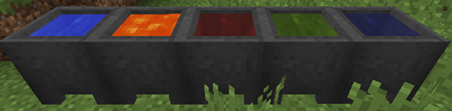 Cauldrons with Water, Lava and Dyed Water